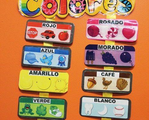 learning with colors at a daycare for kids