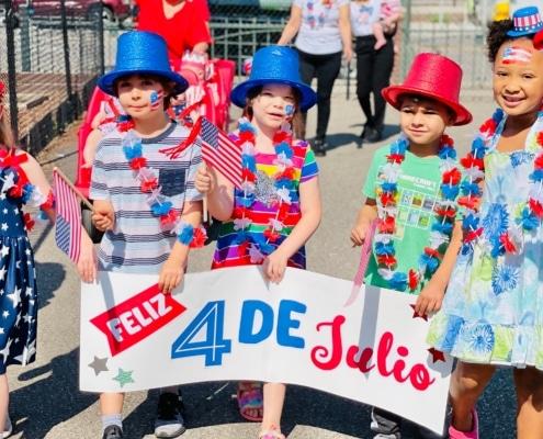 Kids at a 4th of july parade